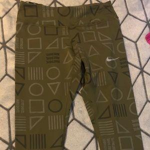 Nike dri fit size small leggings olive green
